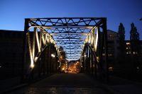 Leipziger Stahlkonstruktion bei Nacht